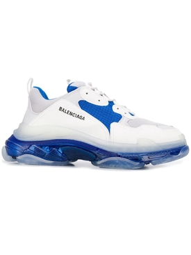 Triple S Clear Sole Multi-Panel Sneakers WHITE/BLUE