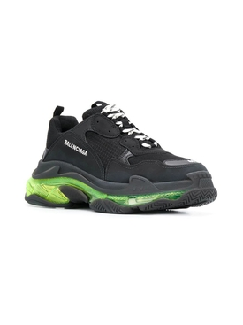 Triple S Clear Sole Multi-Panel Sneakers BLACK/ YELLOW