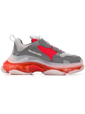 Balenciaga - Triple S Clear Sole Multi-panel Sneakers Grey/ Red - Men