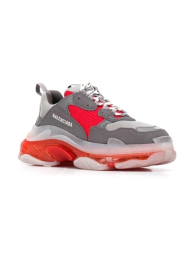 Triple S Clear Sole Multi-Panel Sneakers GREY/ RED