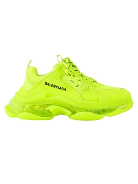Fluorescent yellow triple S sneakers