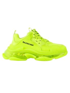 Fluorescent yellow triple S sneakers