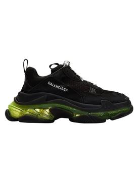 Triple S clear sole low top sneaker BLACK/YELLOW FLUO