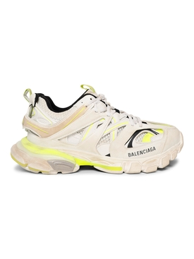 Worn out track sneaker, WHITE AND FLUORESCENT YELLOW