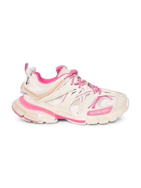 Worn out track sneaker, WHITE AND FLUORESCENT PINK