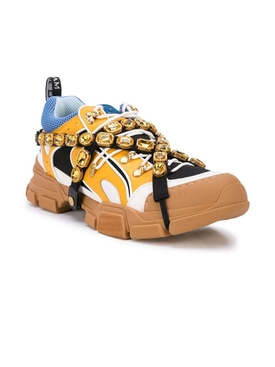 Tan and blue flasktrek sneakers