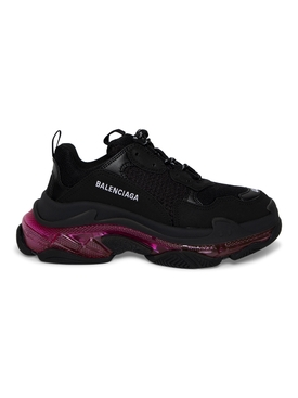 Triple S Sneaker, Black and Pink Neon