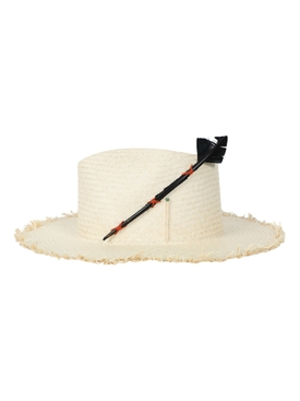 Black Bird natural fedora straw hat