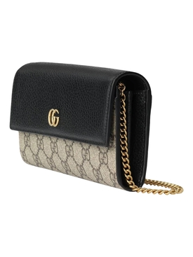 GG Marmont Chain Wallet, Black and Beige