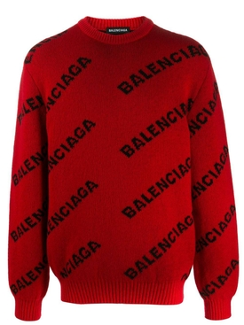 red and black logo print sweater