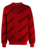 Balenciaga - Red And Black Logo Print Sweater - Men