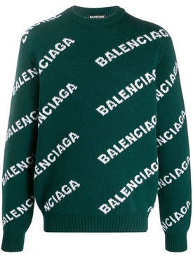 Balenciaga - Green And White Logo Sweater - Men