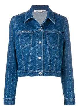 monogram print denim jacket BLUE