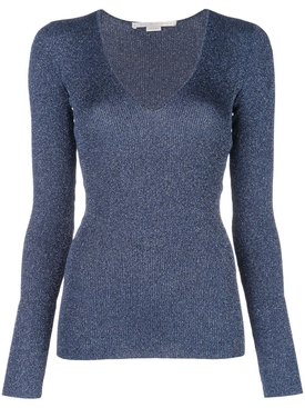 Metallic V-neck jumper BLUE