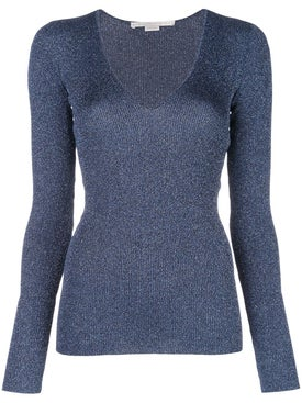 Stella Mccartney - Metallic V-neck Jumper Blue - Women