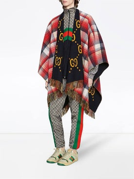 Gucci - Reversible Gg Wool Poncho Red/gray/yellow - Men