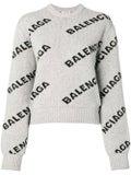 Balenciaga - Grey Logo Print Crew Neck Sweater - Women