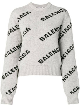 Balenciaga - Grey Logo Print Crew Neck Sweater - Tops