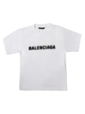 Kid's Blurry Logo T-shirt White and Black