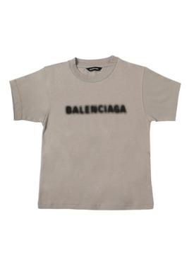 Kid's Blurry Logo T-shirt Steel Grey and Black