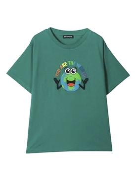 Kids printed world t-shirt GREEN