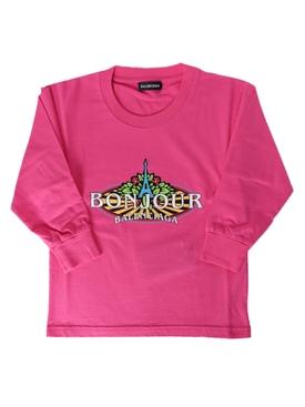 Kids pink bonjour logo sweatshirt