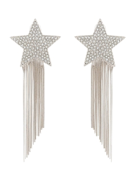 Silver-tone shooting star tassel earrings
