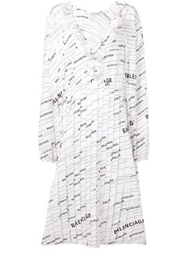 Balenciaga - All-over Contrasting Logo Dress - Women