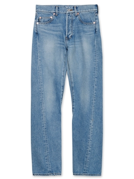 Light indigo raw hem jeans