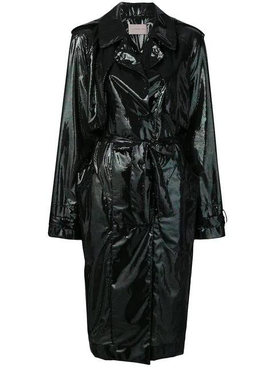 iridescent oil trench coat