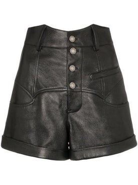 Saint Laurent - High-waisted Leather Rock-and-roll  Shorts - Women