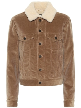 camel tone Shearling-trimmed corduroy jacket