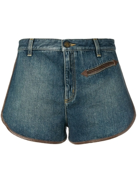 contrast piping denim shorts