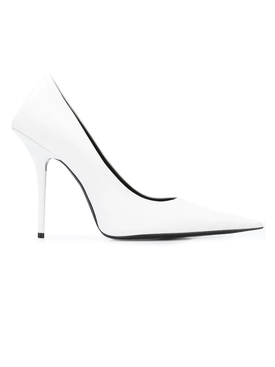White leather pointed toe pumps