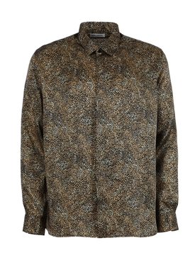 Silk Animal Print Button Down Shirt