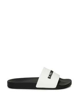 Logo Pool Slide Sandal White and Black
