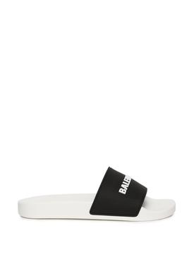 Pool Slide Logo Sandal White and Black