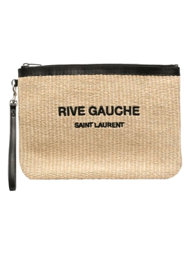 Straw and leather pouch Natural beige