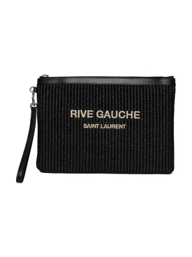 Straw and leather pouch Nero Black