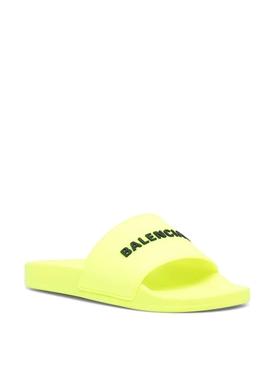 Logo slide sandals fluorescent yellow