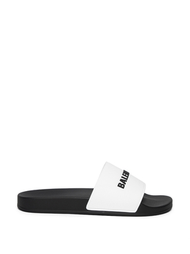 Logo slide sandals black and white