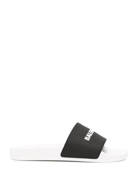 Pool Logo Slide Sandals White and Black