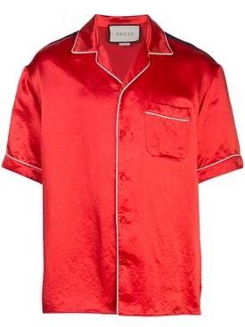multicolor logo bowling shirt RED