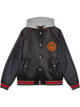 Acetate bomber jacket with lyre patch BLACK