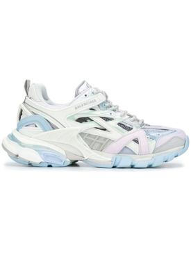 Track 2 Sneaker, White and Light Blue