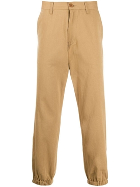 beige cotton logo embroidered chinos