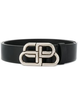 Leather BB Logo Belt, Black