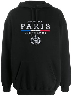 Balenciaga - Paris Embroidered Logo Hoodie Black - Men