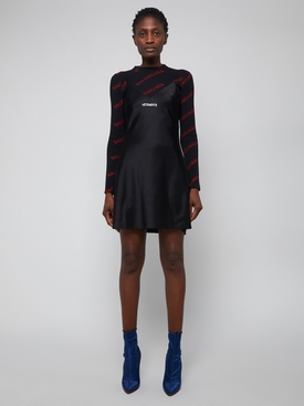 Red and black Ribbed logo print jumper