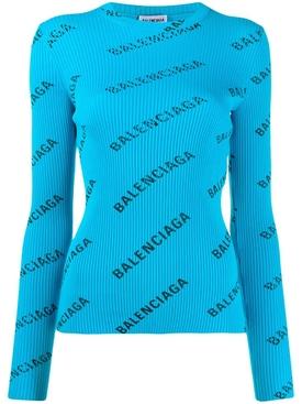turquoise logo print long sleeve